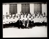 Choir in front of the First African Methodist Episcopal Church, Los Angeles, 1940-1960