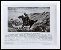 Pony Express riders in a painting dating circa 1860 (copy photo 1930-1989)