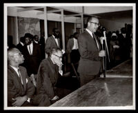 Stanley Mosk speaking at the ribbon cutting ceremony for English Square office building, Los Angeles, 1964