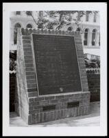 """Plaque commemorating """"Los Pobladores,"""" who founded Los Angeles at El Pueblo de Los Angeles State Historic Park, Los Angeles, 1980"""