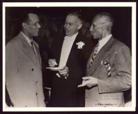 Charles H. Matthews, Paul R. Williams and Frederick M. Roberts at the wedding reception Marilyn Williams and Elbert Hudson, Los Angeles, 1946