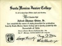 Alfred Thomas Quinn Original Associates Degree from Santa Monica Junior College, 1942