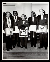 Paul Howard, Bernard Gray, Monroe Parker, Richard Hunt and Frank White, past masters of the masons, Los Angeles, 1967