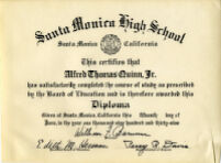 Alfred Thomas Quinn Diploma from Santa Monica High School