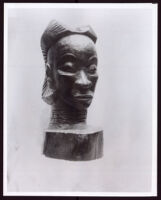 Wooden bust of a woman by Beulah Woodard, 1935-1955
