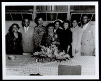 Charlotta Bass with journalists and staff of the California Eagle, Los Angeles, 1940s-1950s