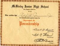 Alfred Thomas Quinn Penmanship Award from William McKinley Junior High School in Los Angeles, CA