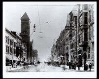 View down Broadway from 2nd Street, Los Angeles, 1898