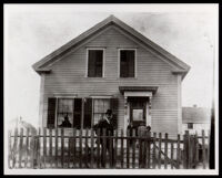 Ellis Spears standing outside of his home, East Providence, Rhode Island, 1901-1910