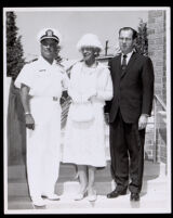 Dr. Vada Somerville, Kenneth Hahn, and a naval officer at the Second Baptist Church, Los Angeles, 1950s