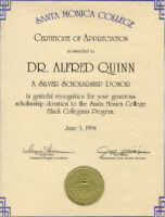ATW Certificate of Appreciation - Silver Scholarship Donor 1994
