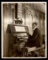 Elmer Bartlett playing the pipe organ at the First African Methodist Episcopal Church, Los Angeles, 1920s