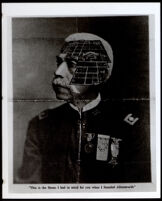 Allen Allensworth in uniform with a birds eye view of Allensworth superimposed, circa 1913