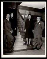 Drs. John A. Somerville and Vada Somerville at host Ursula Murrell, Carol Brice, and Reverend George Garner, Los Angeles, 1944-1951
