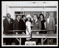 Ribbon cutting ceremony for English Square office building, Los Angeles, 1964