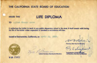 California State Board of Education Life Diploma, 1964