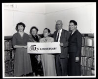 Miriam Matthews, Helen Spotts and others at the Vermont Square Branch Library 45th Anniversary celebration, Los Angeles, 1958