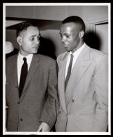Ralph Bunche with an unidentified man, 1958