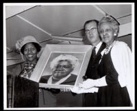 Dedication of Mary McLeod Bethune Park with A. C. Bilbrew, Kenneth Hahn, and  Dr. Vada Somerville, Los Angeles, 1963