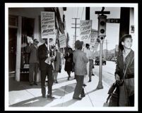 African American men picketing, Los Angeles, between 1939-1945