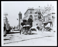 Owen's block (right), purchased by Biddy Mason in 1866, Broadway side, Los Angeles, circa 1901