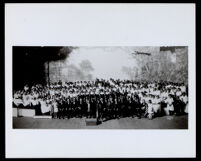Elmer Bartlett with combined church choirs at the Hollywood Bowl choir contest, Los Angeles, 1926