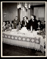 Wedding of Ursula and Cecil Murrell at the home of Drs. Vada and John Somerville, Los Angeles, 1946