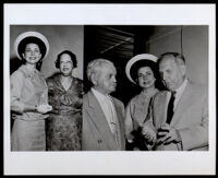 Two images: Arvilla Knight and Ella Blodgett; Louis M. Blodgett, Arvilla Knight, and Goodwin Knight, circa 1950