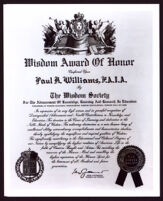 Wisdom Society Award given to Paul R. Williams, 1957