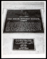Plaque commemorating the First A.M.E. Church at 8th St. and Towne, Los Angeles, 1973