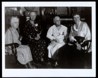 Four Los Angeles City librarians, including Mary Foy and Althea Warren, in a library, Los Angeles, 1938-1958