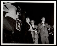 Charlotta Bass campaigns with other Progressive Party candidates, Los Angeles (?), 1952