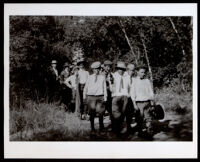 Garrott boys with friends at Sycamore Canyon, Glendale, circa 1909