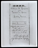 Biddy Mason's deed to two lots in downtown Los Angeles, executed on November 28, 1866 (photographed 1930-1989)