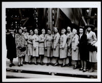 African American women in uniform at the launching of the  S. S. Ocean Telegraph, Oakland, 1945