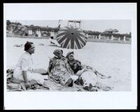 Bessie Bruington Burk with her family on Bruce's Beach, Manhattan Beach, 1920s