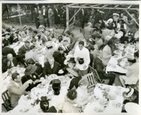 Reception for Mr. and Mrs. R. C. Somerville in the backyard of Drs. Vada and John Somerville, Los Angeles, 1950s (?)