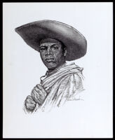 Drawing of Estevanico, a 16th century African explorer, by Sam Patrick, circa 1969