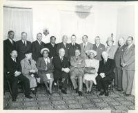 W. E. B. Du Bois at Pilgrim House with Dr. Harold M. Kingsley, Dr. Vada Somerville and others, Los Angeles, 1950 (?)