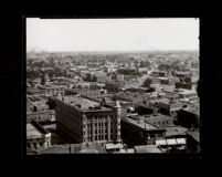 Bird's-eye view of Los Angeles with the Azusa Street Church in the distance, circa 1895