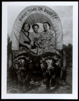 Charlotta Bass and her two sisters, Victorine Kinloch and Lillian Carter, at Knott's Berry Farm, Buena Park, 1947
