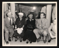 Burton W. Chase, Faustina Johnson, Dr. Vada Somerville, Kenneth Hahn, and Charles Antis at Will Rogers Park, Watts (Los Angeles), 1955