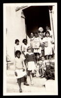 Children on the front steps of Helen Hunt Jackson Branch Library, Los Angeles, 1934