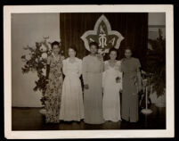 Alpha Kappa Alpha sorority members Martha Williams, Carol Brice, and Ursula Murrell at a sorority event, Los Angeles, 1935-1950