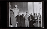 Group portrait at the presentation of the plaque honoring Biddy Mason at the Natural History Museum, Los Angeles, 1957