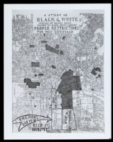 """Map of Los Angeles titled """"A Study in Black & White: Spread of Negro race shown by dark spots & areas. Proper Restrictions: The only safeguard,"""" between 1923-1930"""