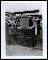 New plaque marking the SE corner of El Pueblo Nuestra Señora La Reina De Los Angeles, Boyle Heights (Los Angeles), 1980