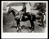 "Volante, the racehorse of Elias Jackson ""Lucky"" Baldwin, with an African American jockey, circa 1886"