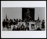 Mabel V. Gray (center-right, at podium?), at a gathering, circa 1940s (?)