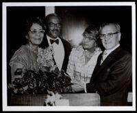 Vivian Osborne Marsh at a testimonial dinner given for her retirement, circa 1960